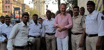 Bob Arno with Mumbai police officers after lecture.